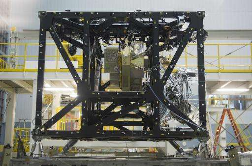 The James Webb Space Telescopes Integrated Science Instrument Module is mounted on a test frame in a clean room at the NASA Godd