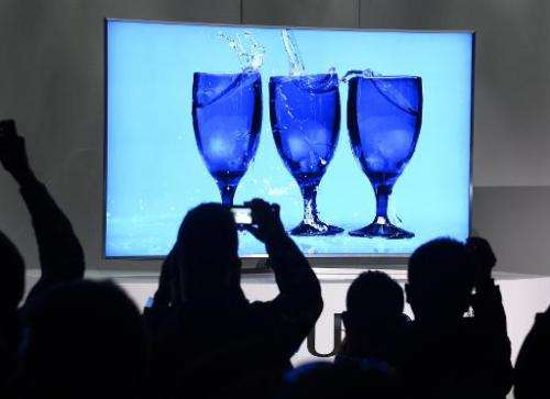 The new Samsung S UHD 4K TV is displayed during the Samsung press conference at the Consumer Electronics Show in Las Vegas on Ja