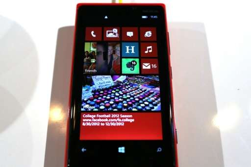 The Nokia Lumia 920 smartphone is displayed during the launch of Windows smartphones on September 5, 2012 in New York City