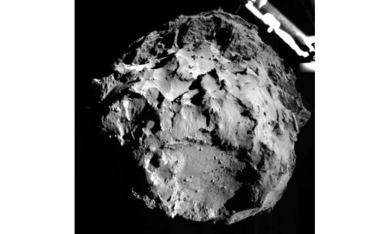 The Rosetta Lander Imaging System, shows the comet 67P/Churyumov-Gerasimenko, during the Philae Lander's descent on  November 12