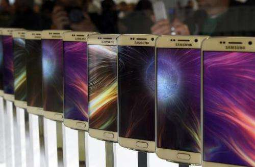 The Samsung Galaxy S6 is presented during the 2015 Mobile World Congress in Barcelona, Spain, on March 1, 2015