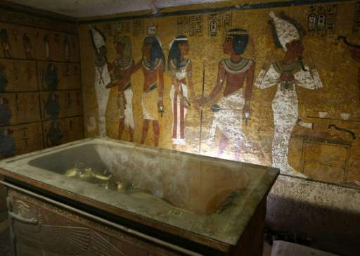 The sarcophagus of King Tutankhamun, known as the 'Child Pharaoh' in its burial chamber on November 4, 2007 in the Valley of the