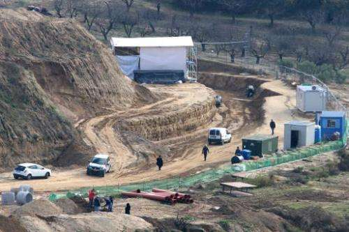 The site where archaeologists have unearthed a funeral mound dating from the time of Alexander the Great in Amphipolis, northern