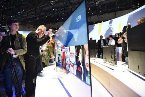 The Sony Bravia X900C 4K TV, which is only 0.2 inches (4.9mm) thick, is displayed at the Sony press conference at the 2015 Consu