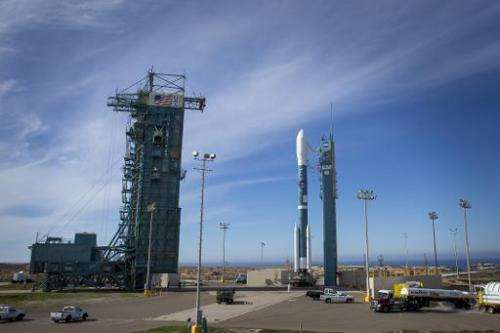 The United Launch Alliance Delta II rocket with the Soil Moisture Active Passive (SMAP) observatory onboard at Vandenberg Air Fo