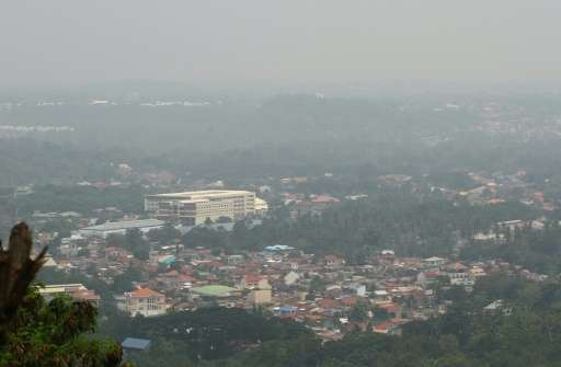 Thick haze, believed to be from Indonesia's forest fires, engulfs the city of Davao, on the southern Philippine island of Mindan