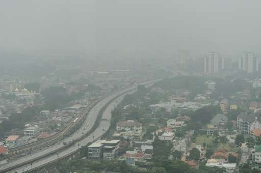 Thick haze covers Kuala Lumpur, on September 29, 2015