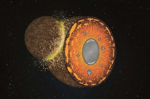 """This artist rendering handout by the CNRS on Wednesday September 23, 2015 shows """"Collision of a rock body with the early Ea"""