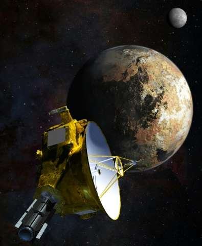 This artist's concept obtained from NASA shows the New Horizons spacecraft as it approaches Pluto and its largest moon, Charon o