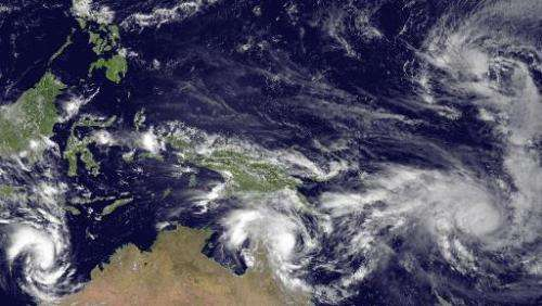 This National Oceanic and Atmospheric Administration (NOAA) image taken by the JMA MTSAT-2 satellite at 0330Z on March 11, 2015