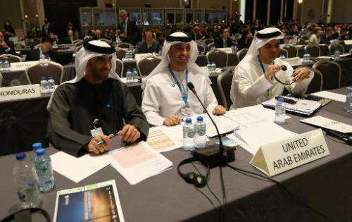 UAE's representatives take part in the fifth Assembly of the International Renewable Energy Agency (IRENA) on January 17, 2015,