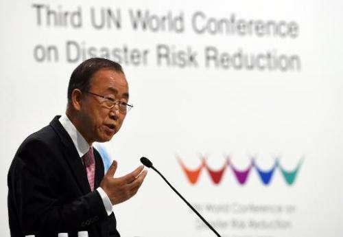 United Nations Secretary-General Ban Ki-moon delivers a speech during the opening ceremony of the third UN World Conference on D