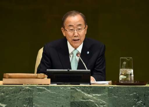 UN Secretary-General Ban Ki-moon during the Opening Session of the Climate Change Summit at the UN in New York September 23, 201