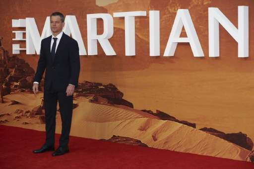 "US actor Matt Damon arrives for the European premiere of ""The Martian"" in London's Leicester square on September 24, 2"