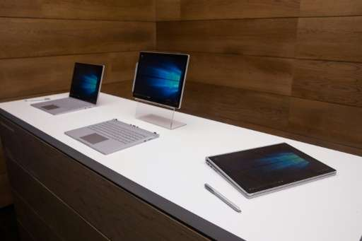 Use of tablet computers like Microsoft's new Surface Books, pictured at a media event on October 6, 2015, has grown 10 percentag