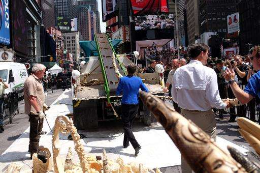 US Interior Secretary Sally Jewell puts a confiscated artwork made out of ivory on a crash-machine during a ceremony at Times Sq