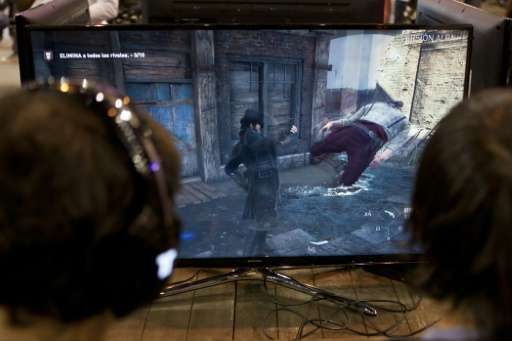 """Videogamers play on an alpha version of French video game developer Ubisoft's last installment of """"Assassin's Creed"""","""