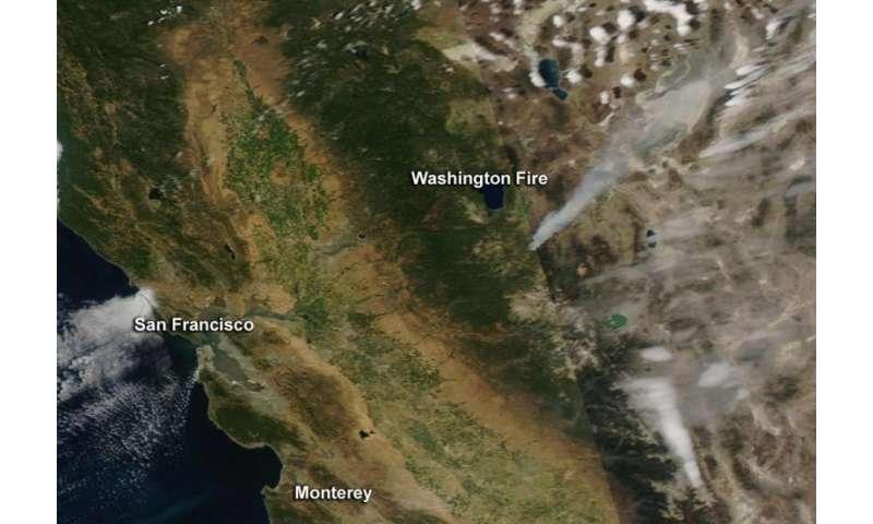 NASA image: Washington wildfire in California on lightning strike map california, large map of california, kern county california,