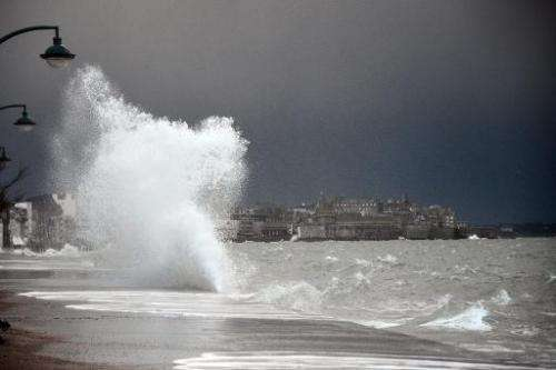 Waves during high tide in the western city of Saint-Malo, France on February 21, 2015