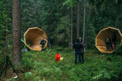 """Whimsically dubbed """"Mother Nature's megaphone"""" by hikers, the installation is made of simple materials like wood and n"""