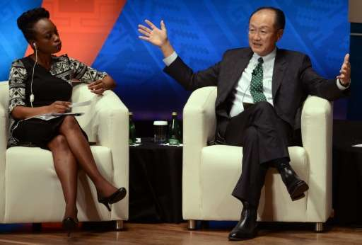 World Bank chief Jim Yong Kim, pictured at right with journalist Femi Oke on October 9, 2015, said November 24 that a $16 billio