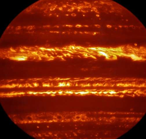An image obtained using the European Southern Observatory (ESO) Very Large Telescope shows a new infrared image of Jupiter in a