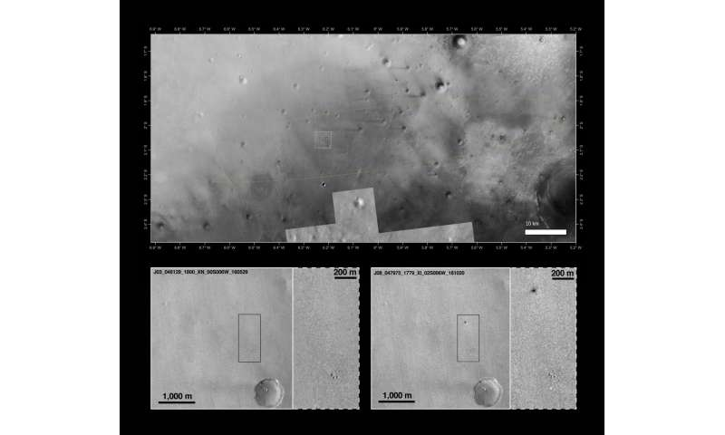 Detailed images of Schiaparelli and its descent hardware on Mars