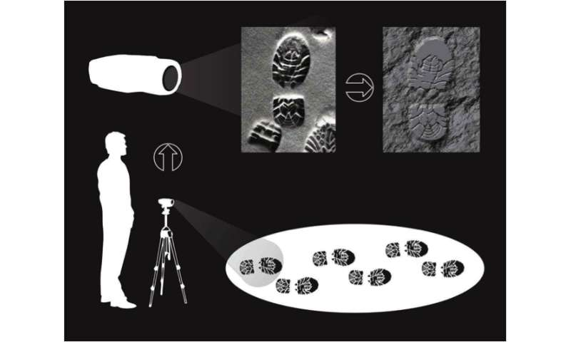 High-resolution 3-D images of shoeprints, tire tracks in snow and soil for crime-scene forensics