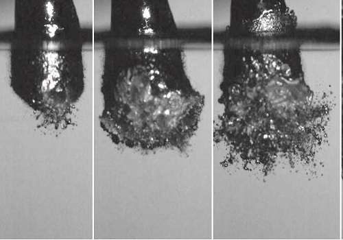 High-speed camera images reveal explosive microbead formation process