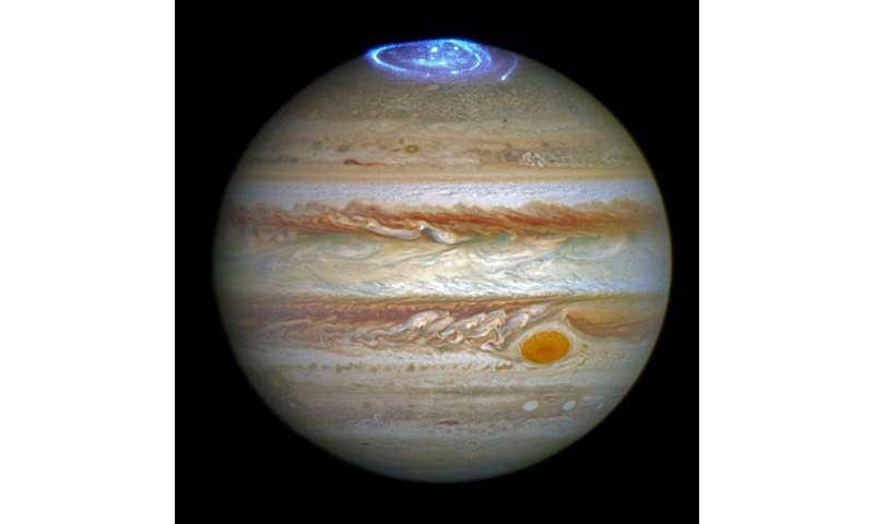Hubble captures vivid auroras in Jupiter's atmosphere