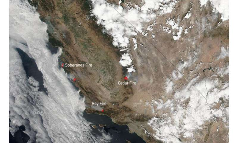 Image: Several wildfires burning in Southern California