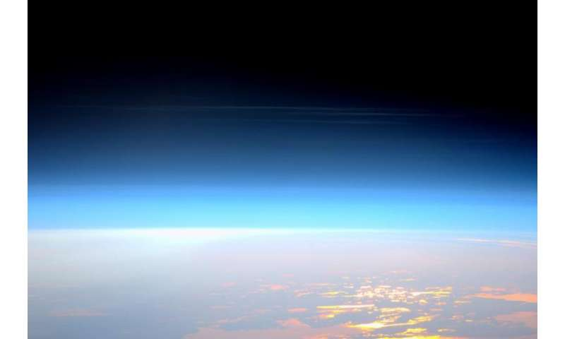 Image: Space station view of noctilucent clouds