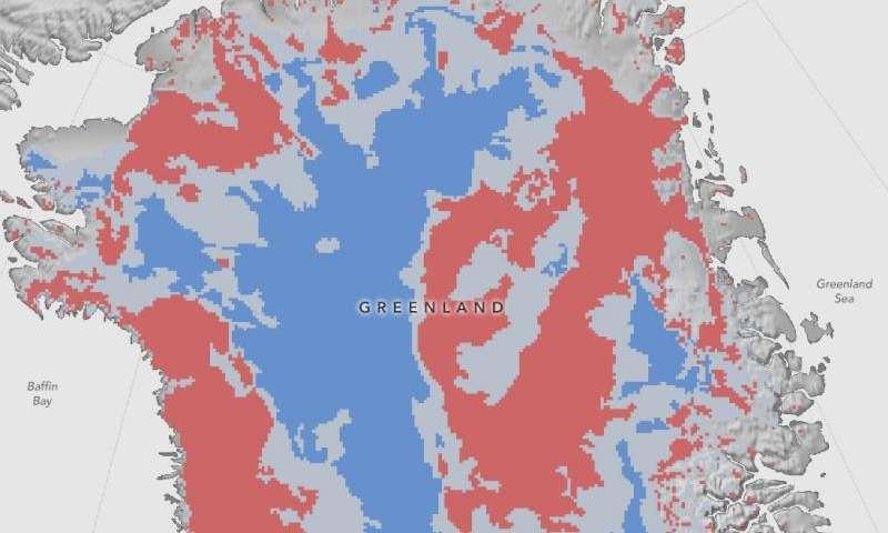 NASA maps thawed areas under Greenland ice sheet