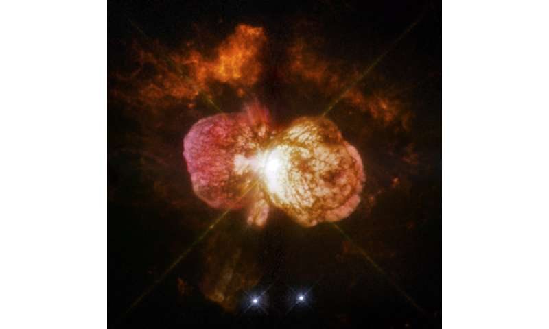 NASA's Spitzer, Hubble find 'twins' of superstar Eta Carinae in other galaxies