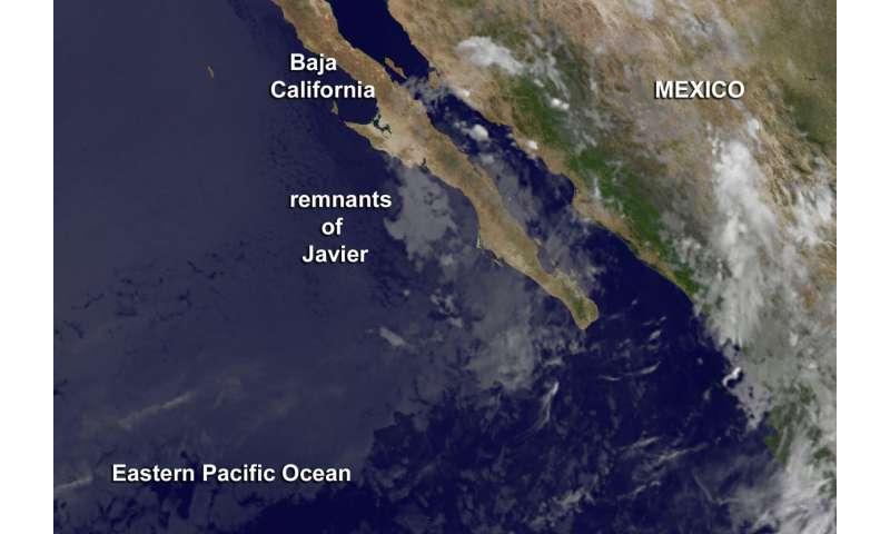 Satellite sees remnants of Tropical Depression Javier