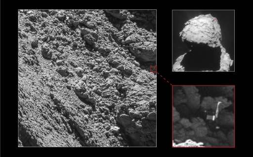 The European Space Agency craft Philae is shown on September 2, 2016, at the site of its landing on comet 67P/Churyumov-Gerasime