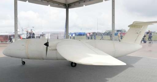 The prototype of the 3D printed THOR aircraft is pictured at the International Aerospace Exhibition (ILA) in Schoenefeld, in Jun