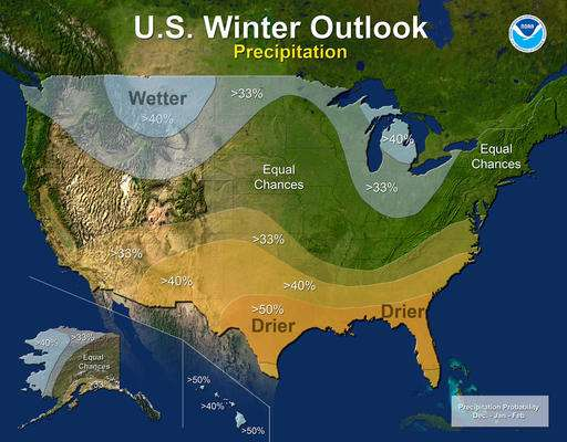 Winter outlook: Warm south; cooler north; middling in middle