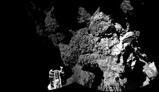 A photo released by the European Space Agency (ESA) in November 2014 shows an image taken by Rosetta's lander Philae on the surf