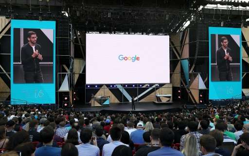Google CEO Sundar Pichai speaks during Google I/O 2016 on May 19, 2016