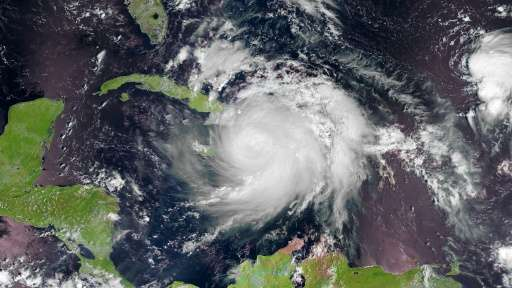 Hurricane Matthew over Haiti, Cuba and Jamaica, captured by EUMETSAT's Metop-B polar-orbiting satellite on October 4, 2016