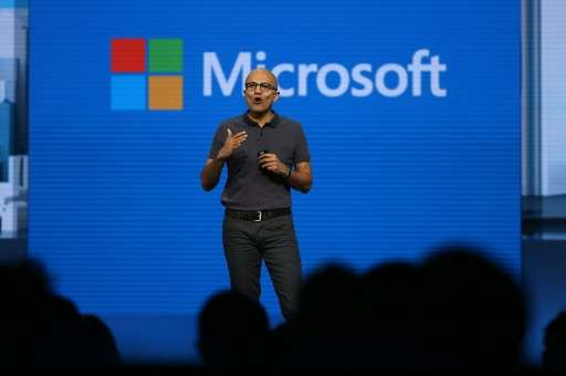 Microsoft CEO Satya Nadella delivers the keynote address during the 2016 Microsoft Build Developer Conference on March 30, 2016