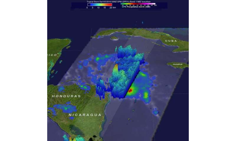 NASA's GPM sees towering thunderstorms in intensifying Tropical Storm Earl