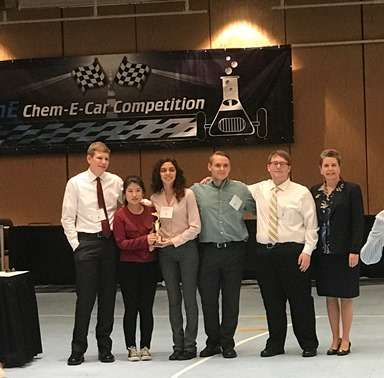 NJIT's 'lead tank' motors to a medal at the Chem-E-Car Championship