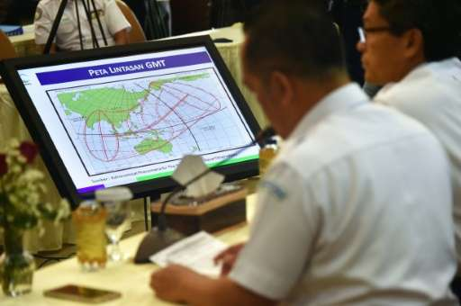 Officials display a map of the planned trajectory across the Indonesian archipelago of the upcoming total solar eclipse