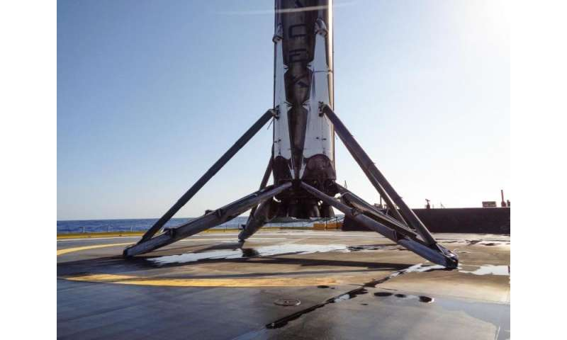 Recovered SpaceX Falcon 9 booster headed back to port