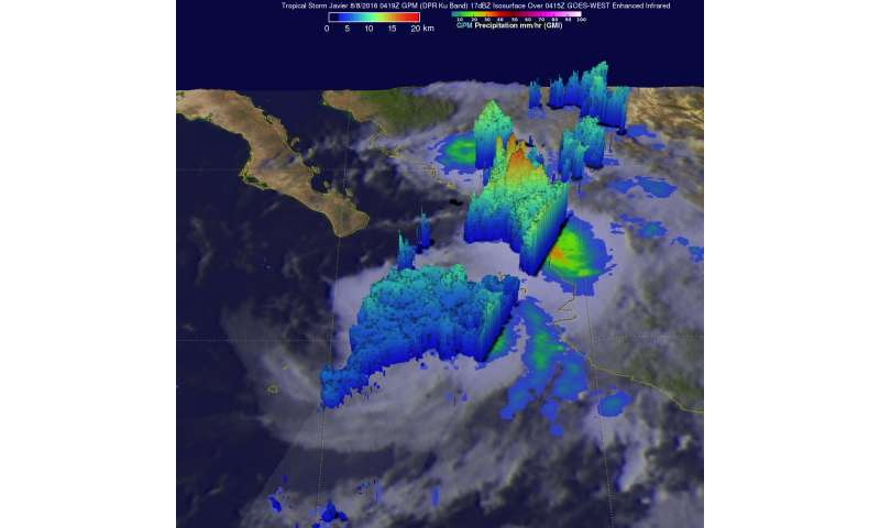 NASA sees Tropical Storm Javier form in the Eastern Pacific