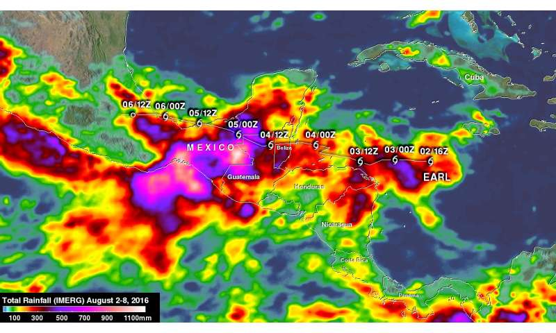 NASA's IMERG measures Hurricane Earl's deadly rainfall in Mexico