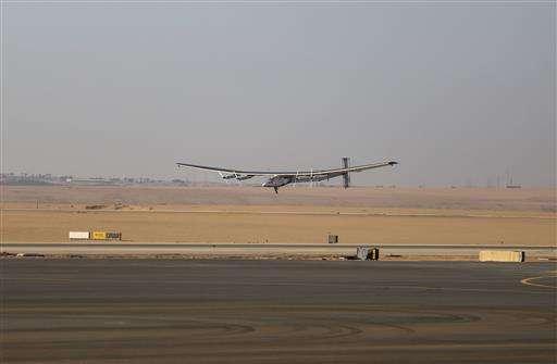Solar plane flies over Egypt pyramids on globe-circling trip