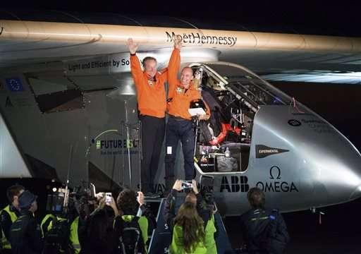 Solar-powered plane completes journey across Pacific Ocean (Update)